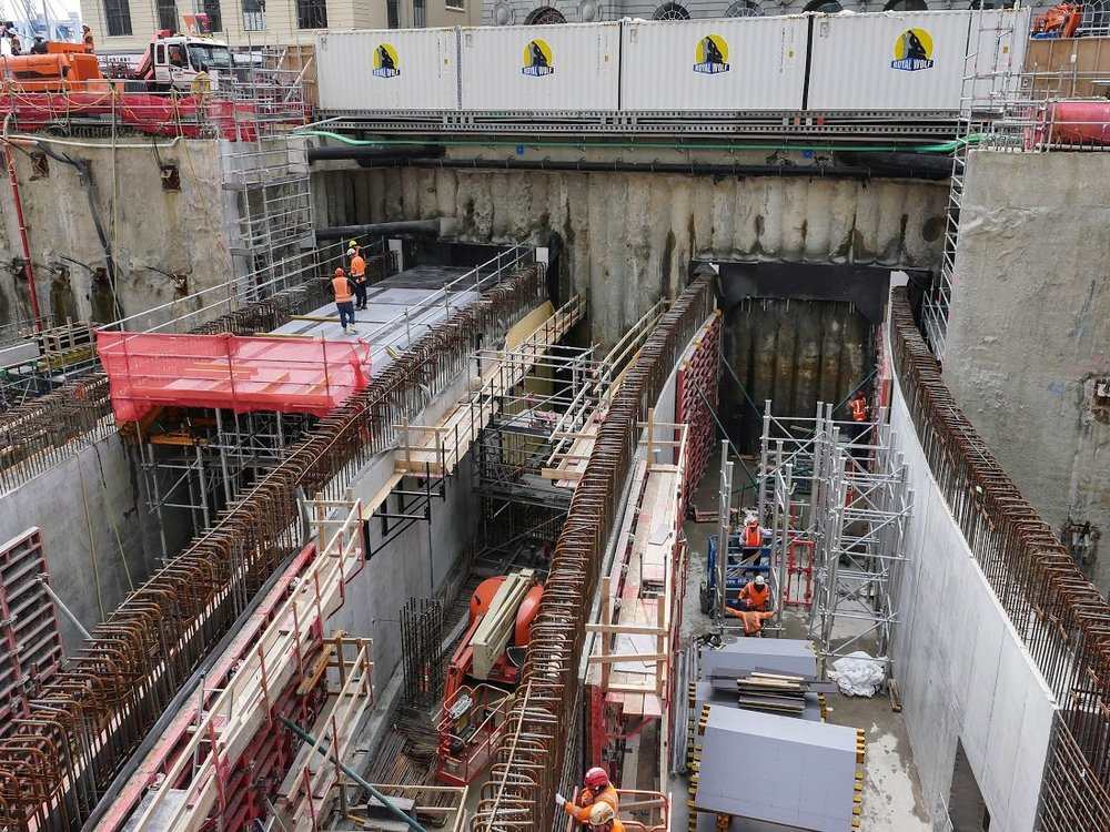 Lower Queen St/Commercial Bay tunnel construction