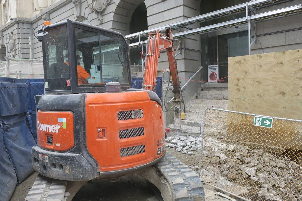 Construction work in Lower Queen Street.