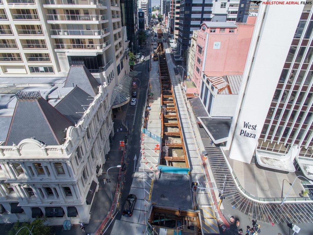 Drone shot of the Albert Street construction