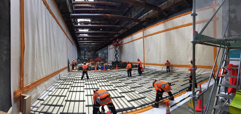 First 12 metres of waterproofing is completed in the Albert Street tunnel box