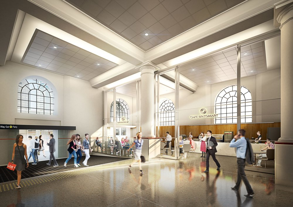 Concept design for interior of the redeveloped Britomart train station