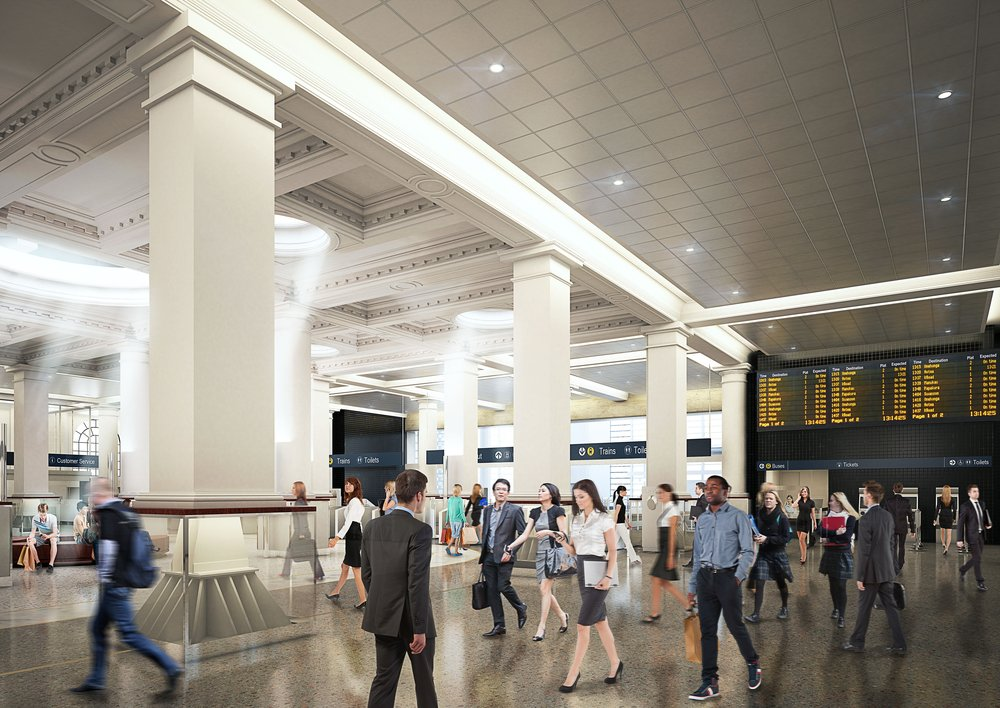 Plan for the interior of the redeveloped Britomart train station