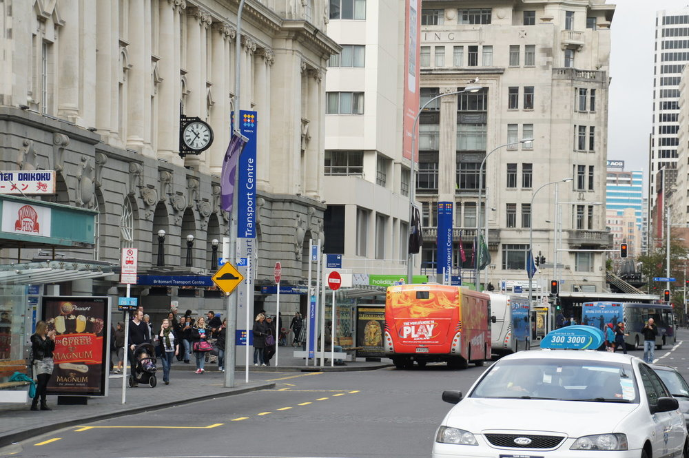 TRAFFIC:  Buses and some vehicles such as taxis returned to the space outside the Britomart Transport Centre until the start of preparatory works for the CRL