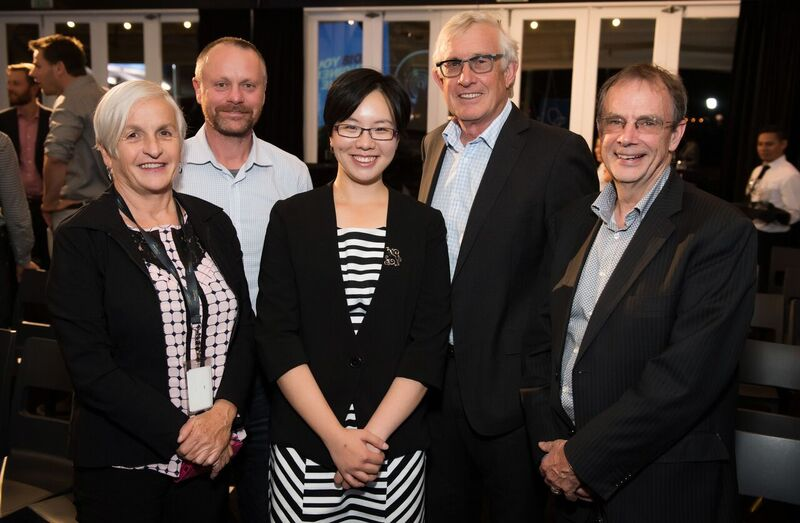 TEAM: Jenny with members of the CRL team (from left Communications Manager Carol Greensmith, Construction Manager Scott Elwarth, the first Chief Executive Chris Meale and Roly Frost.
