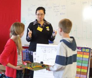 ENCOURAGING: Jenny was a Futureintech Outreach Ambassador shown here working with Devonport Primary School students
