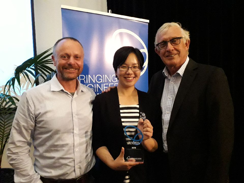 TOP AWARD: Jenny Chu with Scott Elwarth, CRL Construction Manager (left) and CRL's first Chief Executive Chris Meale (right)