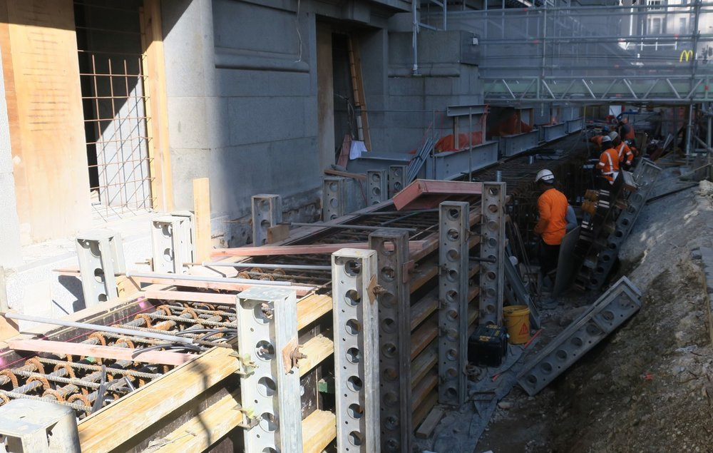 CPO Rebar steel installed for concrete underpinning beam outside CPO23 April 2018.JPG
