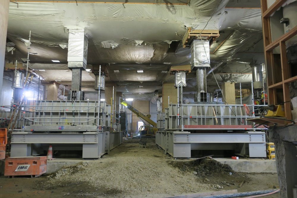 UNDERPINNING:  The beams form an important part of the building support system during tunnel excavation