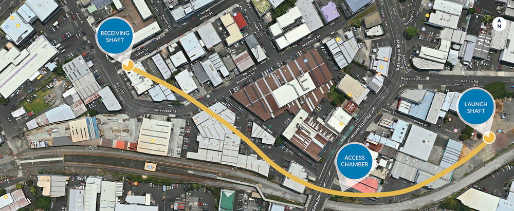 Map showing location Mt Eden stormwater works