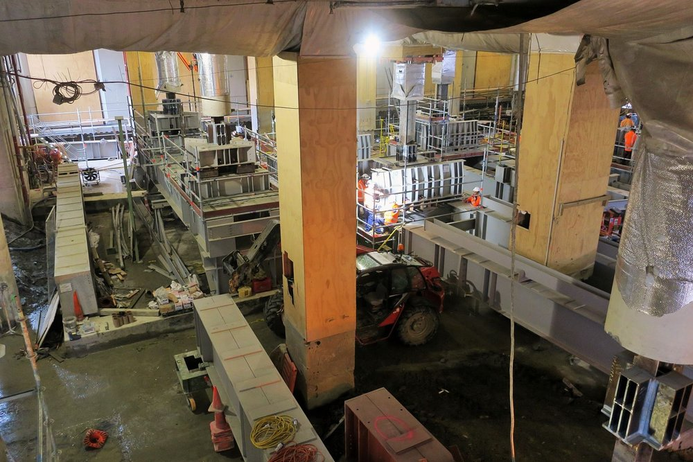 SOUTHERN END: The underpinning beams inside the former Chief Post office at the southern end
