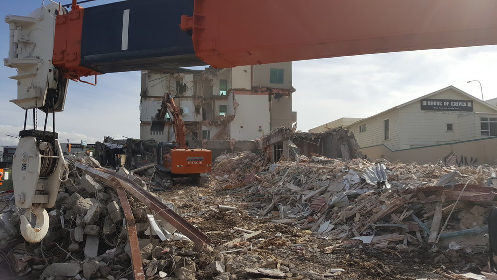 Demolition of apartments in Mt Eden before work on a stormwater diversion begins