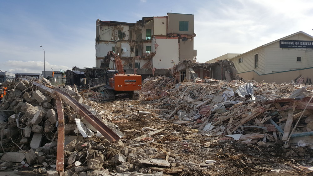 Demolition of apartments in Mt Eden before a stormwater diversion begins