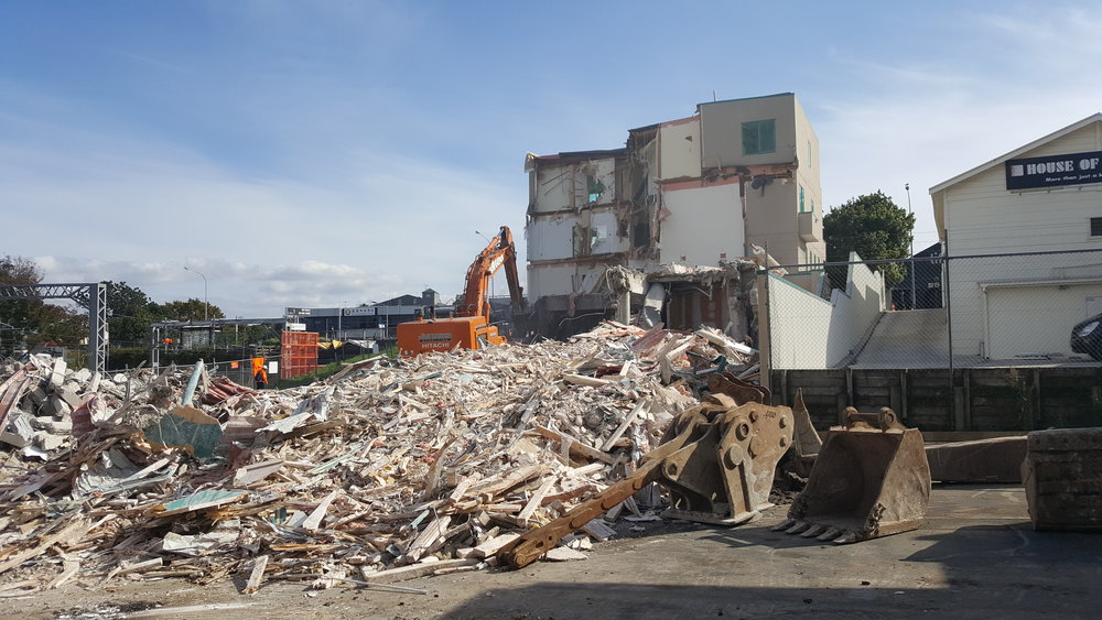 Demolition of an apartment block in Mount Eden before a stormwater diversion begins