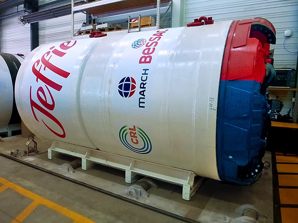 Jeffie, the tunnel boring machine, being used in the CRL C6 works