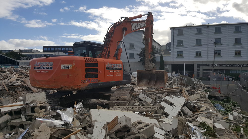 Demolition apartments in Mount Eden before a stormwater diversion starts