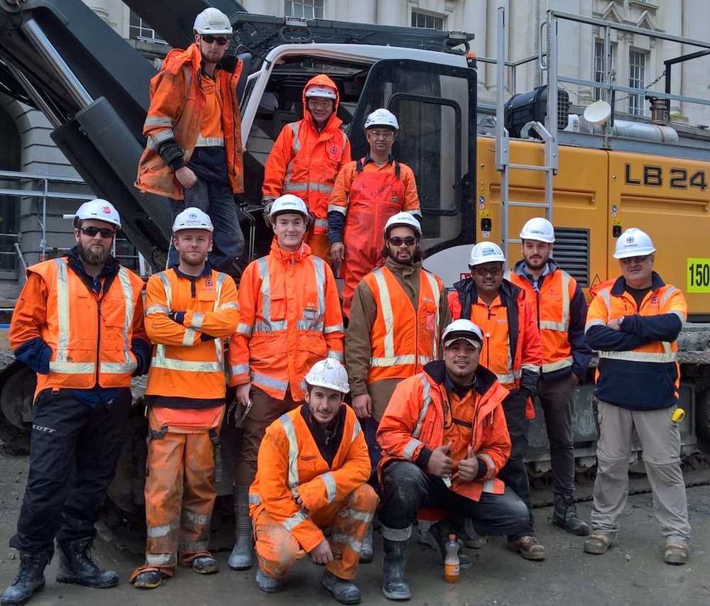 CRL construction team workers in Lower Queen Street.