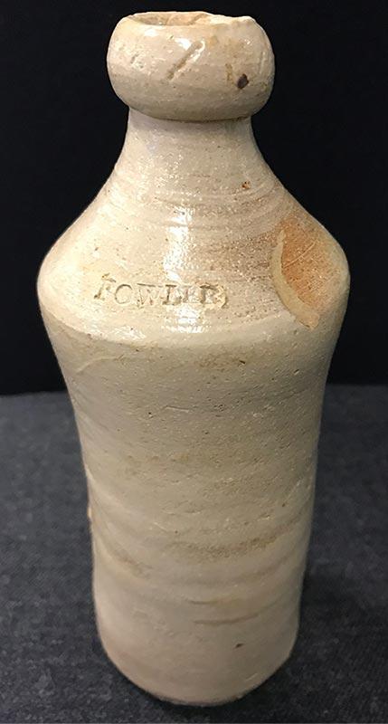 Historic Fowler ginger beer bottle discovered during CRL excavation