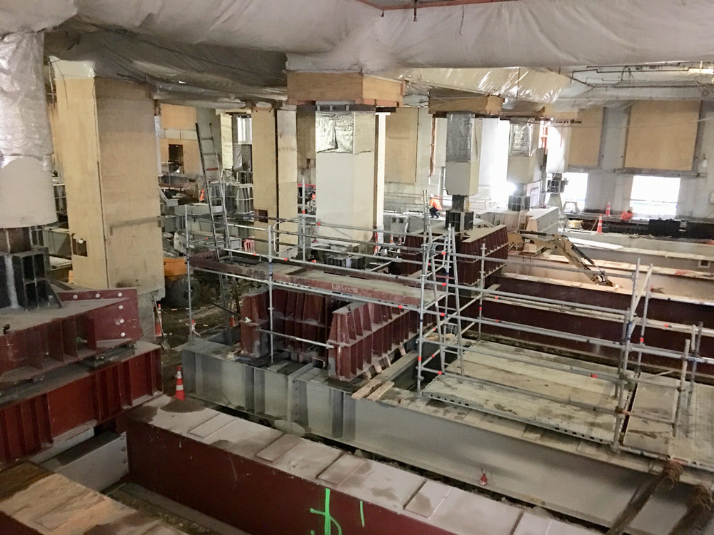 CRL construction work inside the Chief Post Office building.