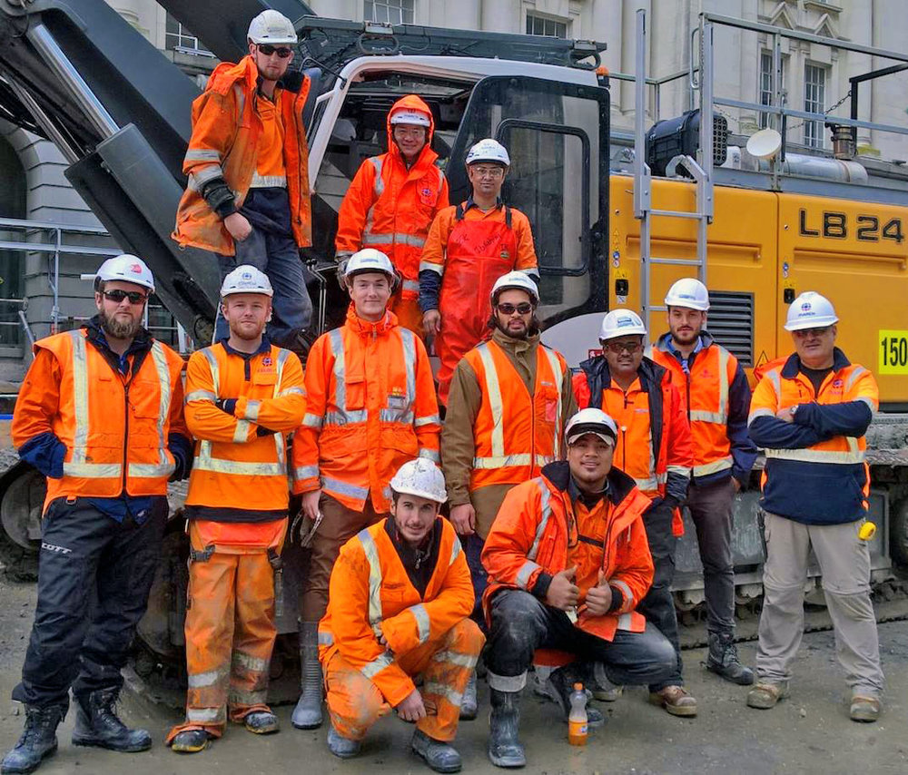 COMPLETED:  The piling team after the 70th secant pile had been installed.