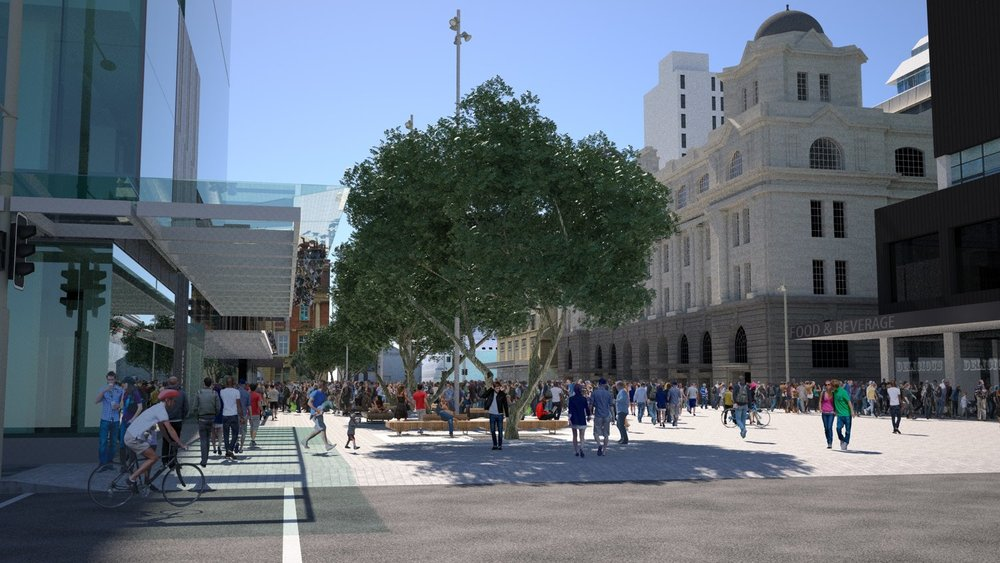 Render of proposed new Lower Queen Street South view public space post CRL