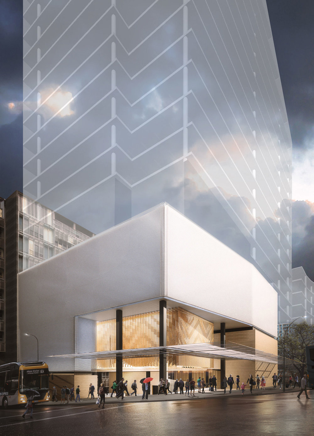 Render of Aotea station threshold exterior with potential for building above station entrance