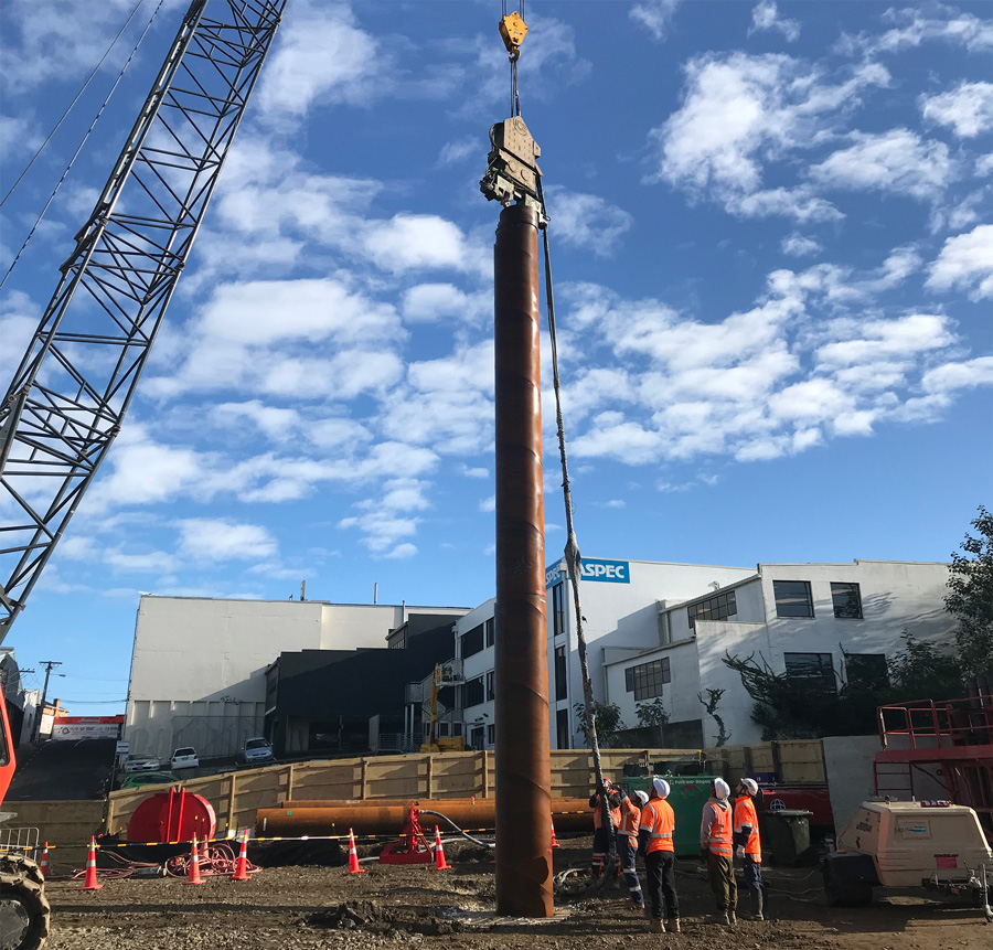 Installation of the first 18m-deep pile at Water St