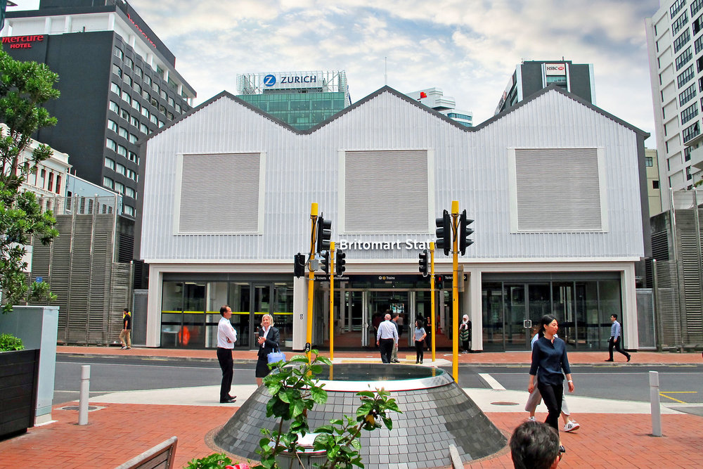 TEMPORARY: While the tunnel is being built under the Britomart Transport Centre in Downtown Auckland, a temporary entrance around the back of the building enables passengers to continue to reach the platforms