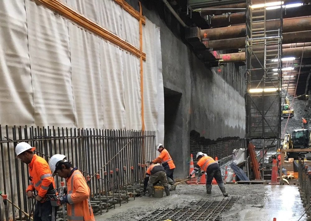 POUR: Connectus Joint Venture pouring a section of tunnel box floor