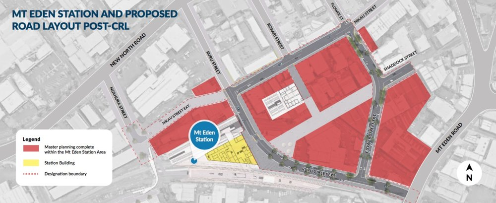 Map of Mt Eden Station and proposed road layout post-CRL