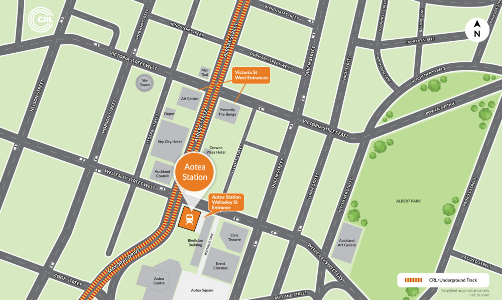 Map of Aotea Station and surrounds