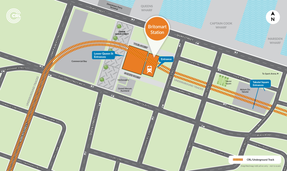 Map of Britomart Station and surrounds