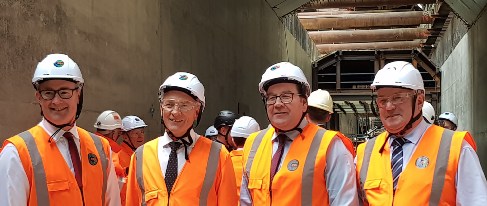 Minister of Transport. Hon. Phil Twyford, Mayor of Auckland Phil Goff, Finance Minister Hon. Grant Robertson and Deputy Auckland Mayor Bill Cashmore in the CRL Albert Street trench