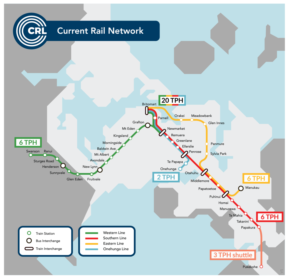 Current Auckland Rail network (click to enlarge)