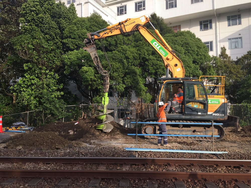14 tonne excavator and 750mm earth drill  working on improvements at The Strand November 2018