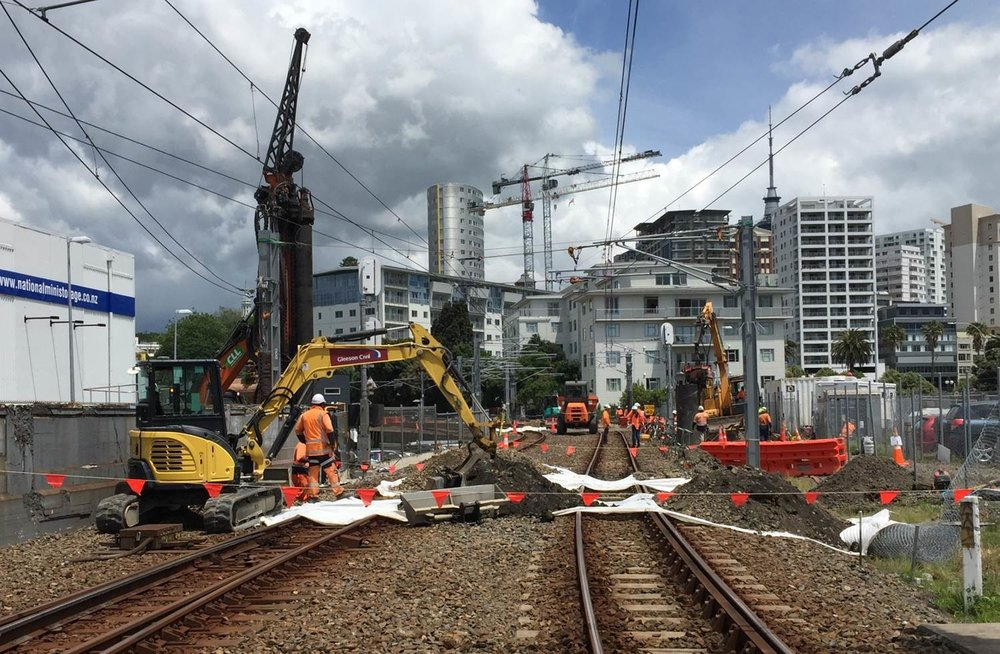 Excavation for under track crossing at The Strand-  KiwiRail Strand improvements November 2018
