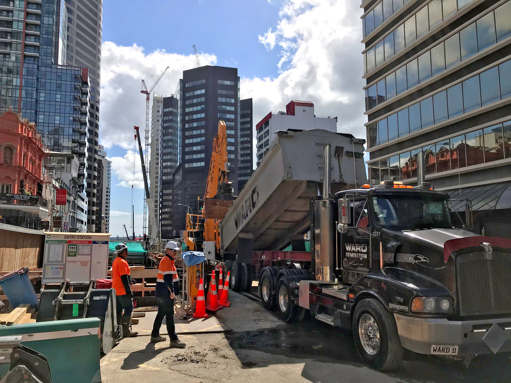 Backfilling the trench in Albert Street milestone for CRL