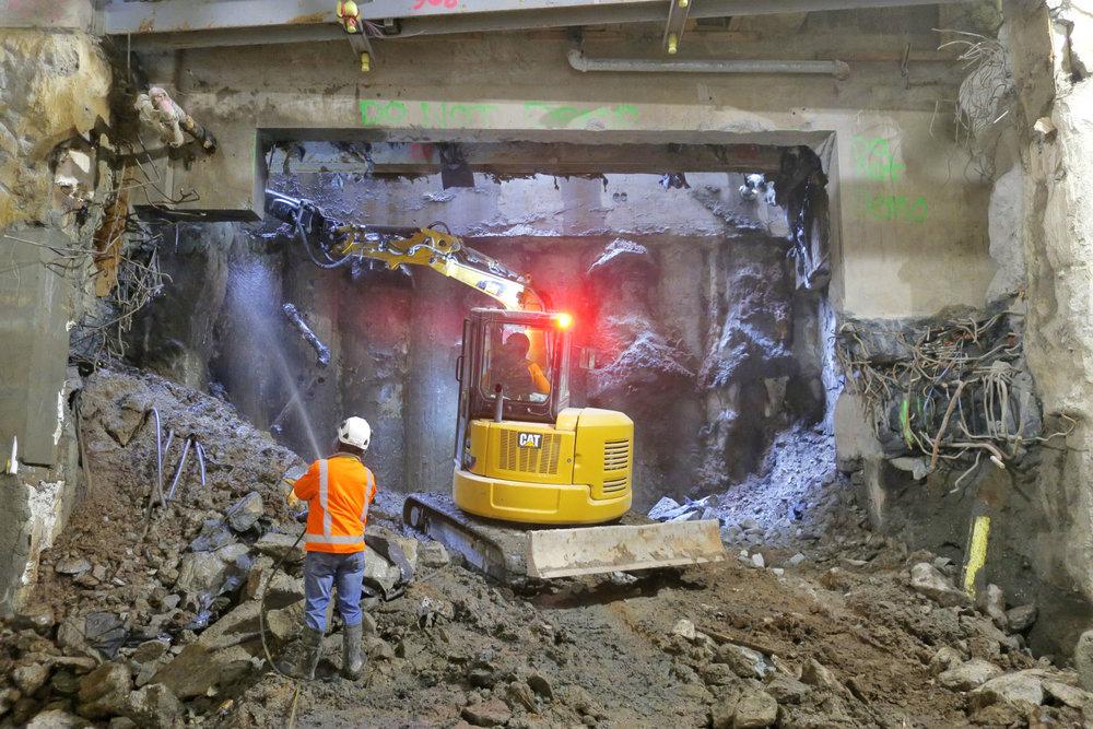 NORTH: Final demolition work in the northern tunnel