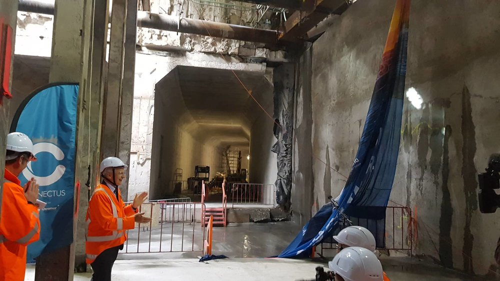 The breakthrough to the Commercial Bay development site from the Albert Street trench tunnels – in downtown Auckland. 6 December 2018.