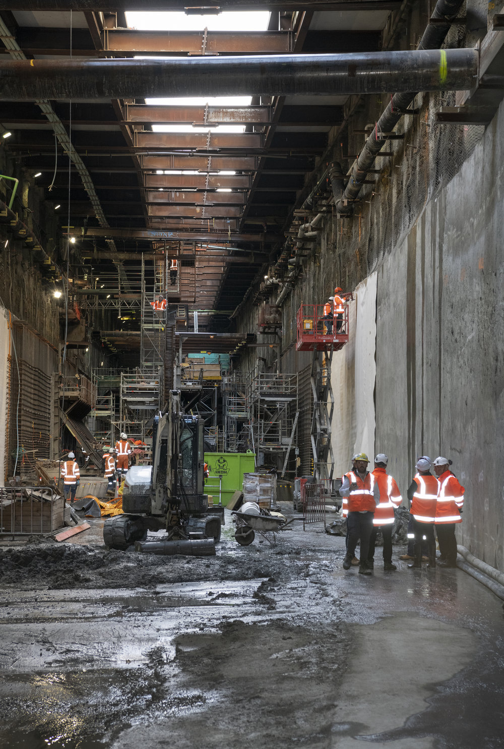 The major #crl #cityraillink milestone breakthrough to the Commercial Bay development site from the Albert Street trench tunnels – in downtown Auckland. 5 December 2018.