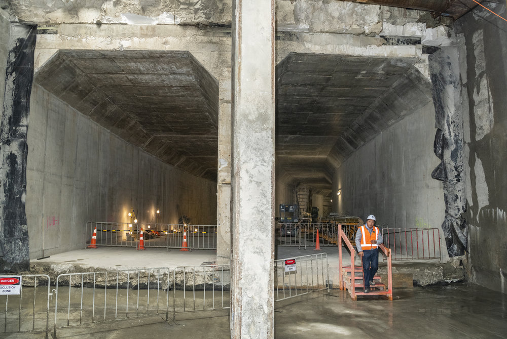 Blessing at the CRL milestone breakthrough to the Commercial Bay development site from the Albert Street trench tunnels – in downtown Auckland. 5 December 2018.  Hero Potini performed the blessing .