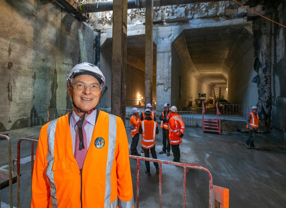 Auckland Mayor Phil Goff. The CRL milestone breakthrough to the Commercial Bay development site from the Albert Street trench tunnels – in downtown Auckland. 5 December 2018.