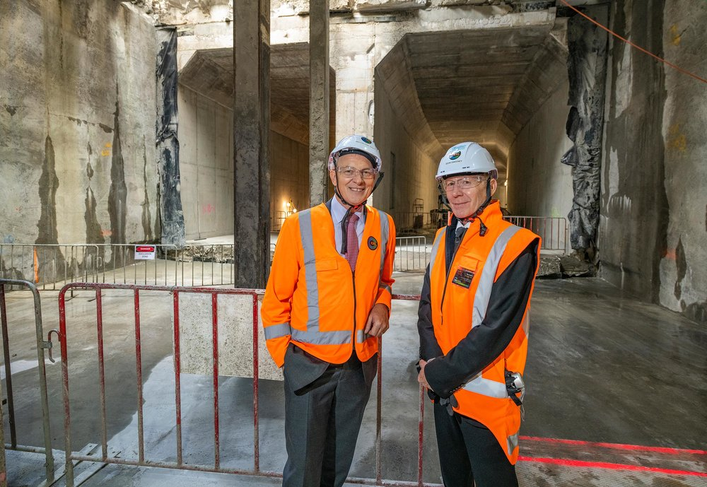 The CRL milestone breakthrough to the Commercial Bay development site from the Albert Street trench tunnels – in downtown Auckland. 5 December 2018. Auckland Mayor Phil Goff and CRL CEO Sean Sweeney.