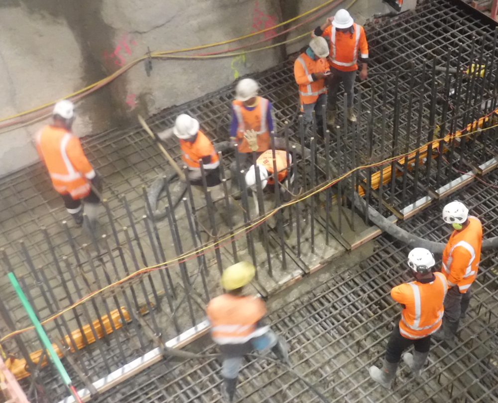 70 cubic metres of reinforced concrete is being poured  for the first base slab below the CPO in Britomart