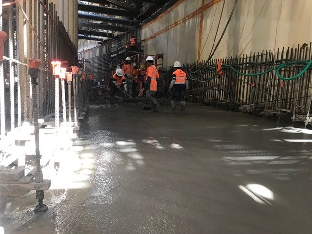 Connectus contractors in Albert Street tunnel box concrete pour 28 February 2019