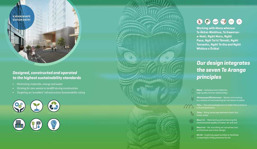 Street hoarding design describing how the CRL design integrates the seven Te Aranga principles and operates to the highest sustainability standards