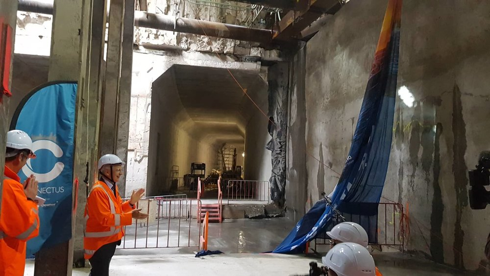 BREAKTHROUGH: In December 2018, CRL celebrated a major milestone with the breakthrough from the Albert Street tunnels to CRL tunnels across the Commercial Bay site, Downtown Auckland