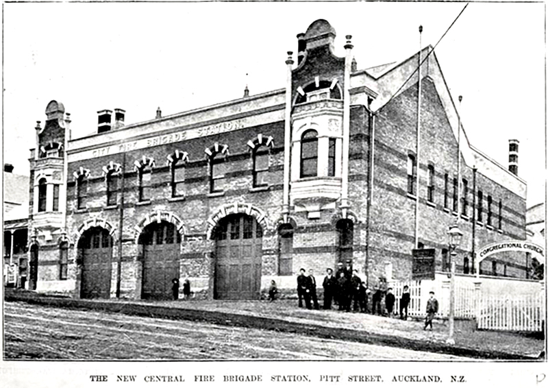 FIRE STATION; At the start of the century, Auckland's new central fire brigade station opened in Pitt Street (Photo: Sir George Grey Special Collections, Auckland Libraries, AWNS-19020710-8-4 )