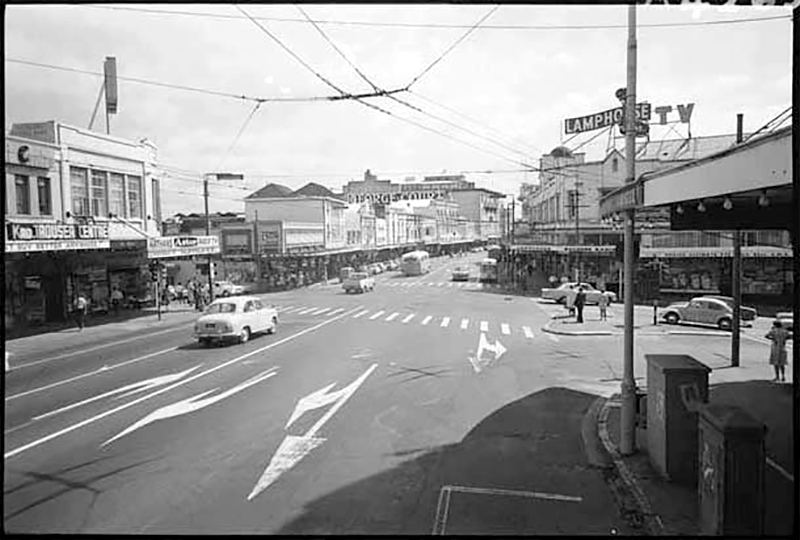 SHOPPING PRECINCT: Karangahape Rd in 1969. Stores included electrical dealer Lamphouse, Auckland Savings Bank, J Steele Limited, Barker and Pollock Limited, George Courts Limited and Rendells department store (Photo: Sir George Grey Special Collections, Auckland Libraries, 7-A4265)