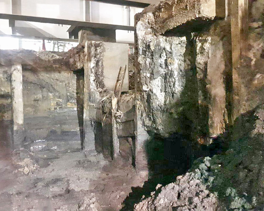 The original foundations under Britomart Station's historic Chief Post Office building