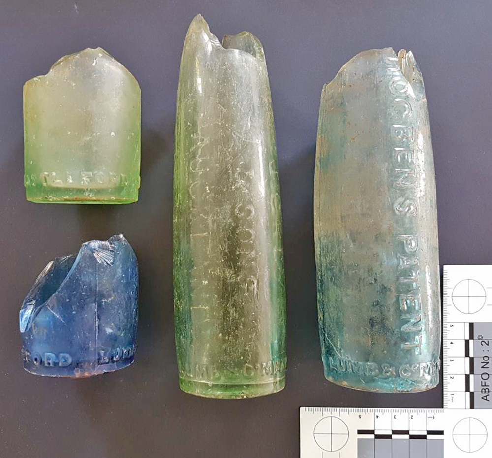 HOGBEN: Hogben patent aerated water bottles. This type of bottle was used by Sydney glass maker J.Grey & Sons during the 1870s/80s